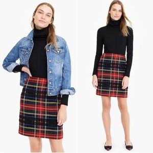 NWT J Crew Red Stewart Tartan Plaid Mini Skirt - 4